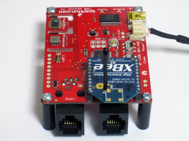 RJ11モジュラージャックを半田付けした USB Weather Board