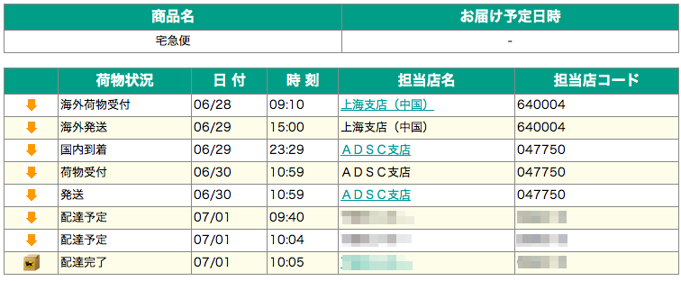 MacBook Air ヤマト運輸ステータス